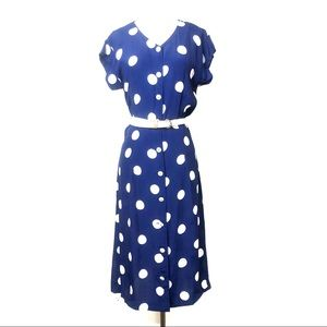 Vintage Navy Blue Polka Dot Midi Dress Sz M
